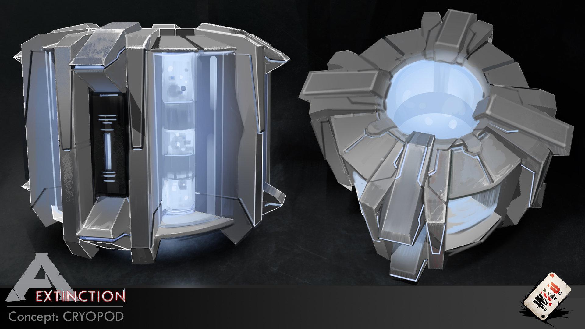 Die Kryokammer schrumpft Dinos und Objekte zu Würfeln (Concept Art)
