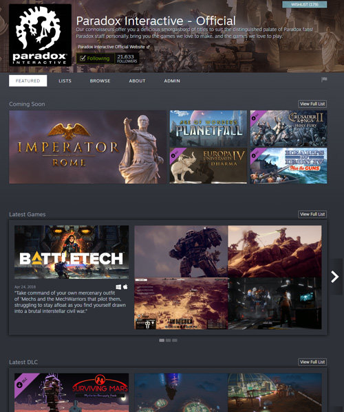 Steam Homepage Beispiel: Paradox Interactive