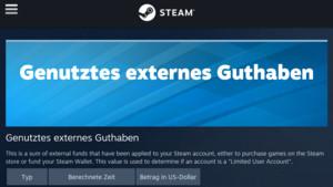 Steam: Valve zeigt Gesamtausgaben eines Accounts an