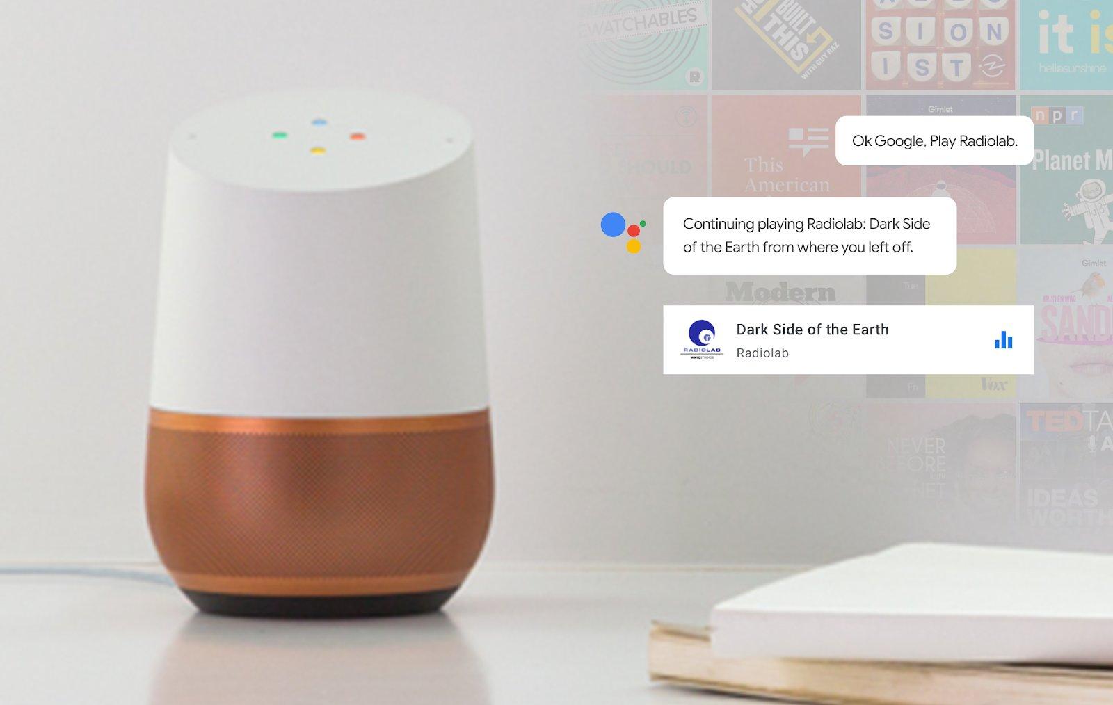 Google Podcasts auf dem Google Home