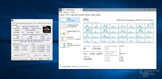 So zeigt CPU-Z den Threadripper 1950X unter Windows 10 an