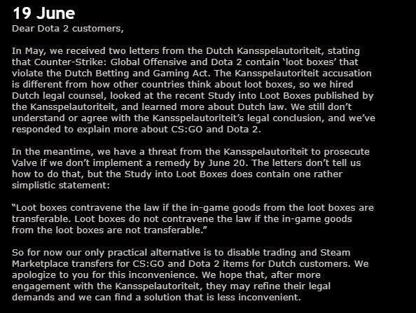 Valve informiert Spieler über die Änderung