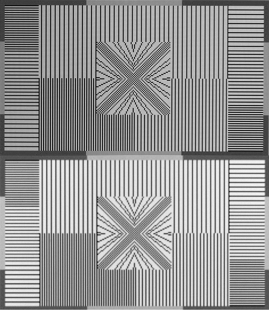Native Darstellung von 2.560 x 1.440 Bildpunkten (oben) und interpoliert durch ein UHD-Display (unten).