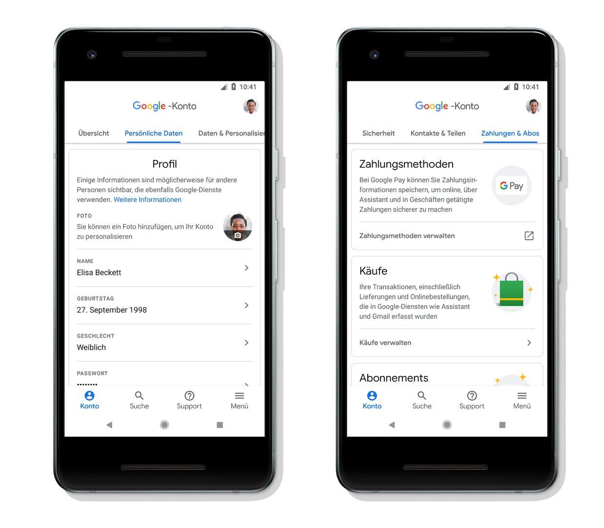 Google-Konto: Persönliche Daten