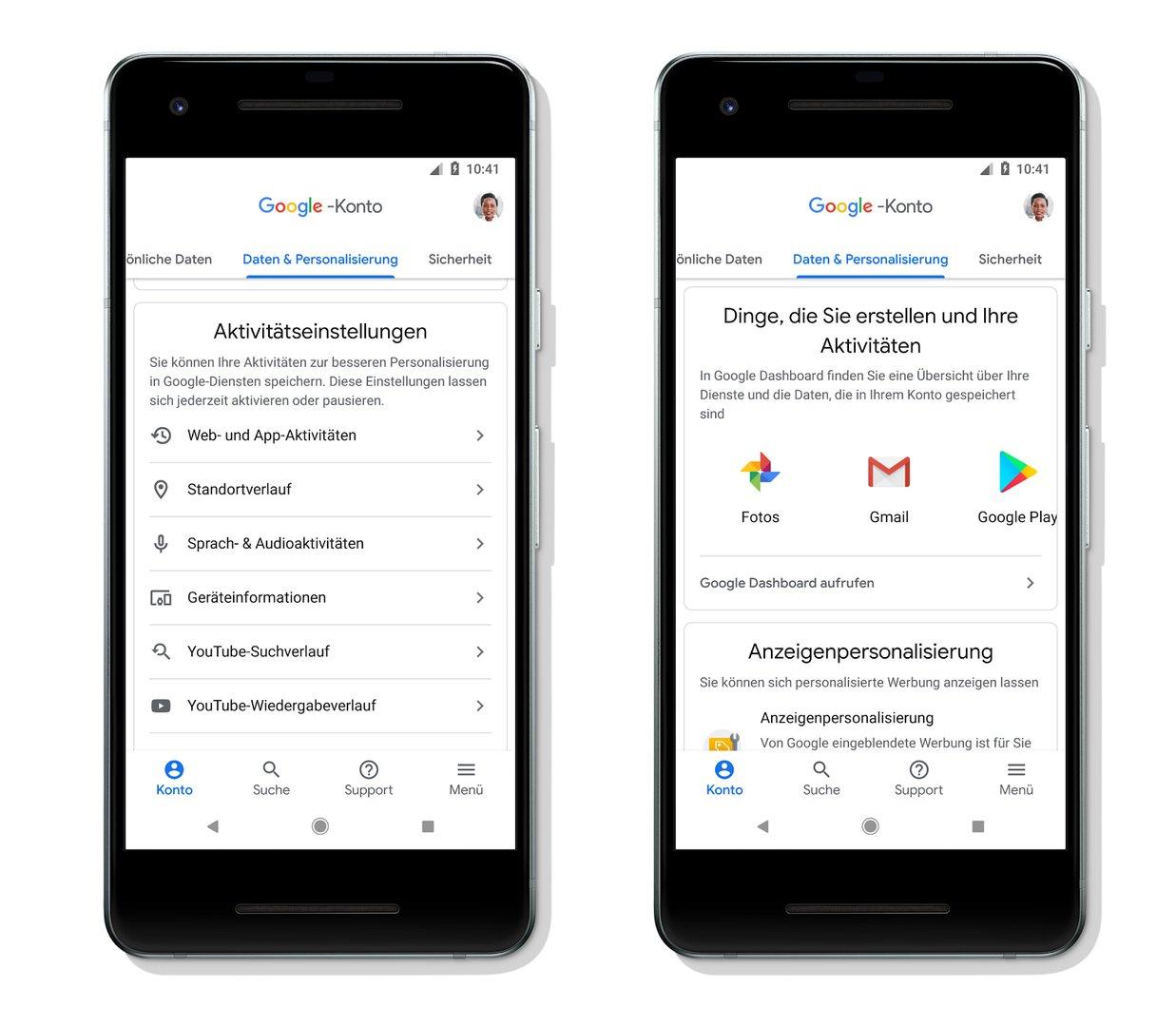 Google-Konto: Daten und Personalisierung