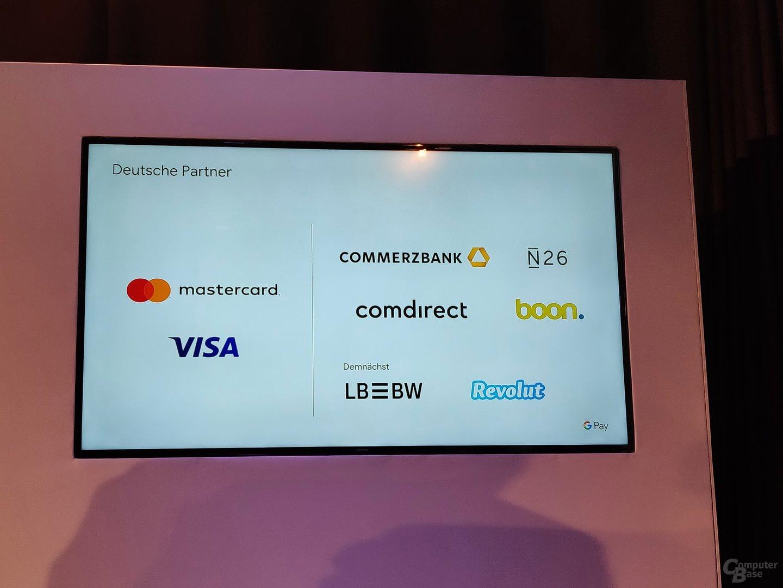Banken und deren Karten zum Start von Google Pay