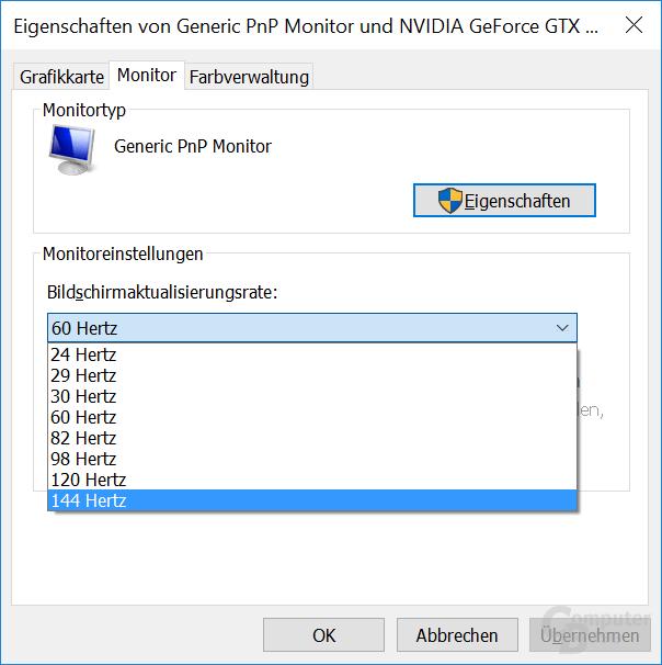 Der Asus PG27UQ mit einer Nvidia-Grafikkarte
