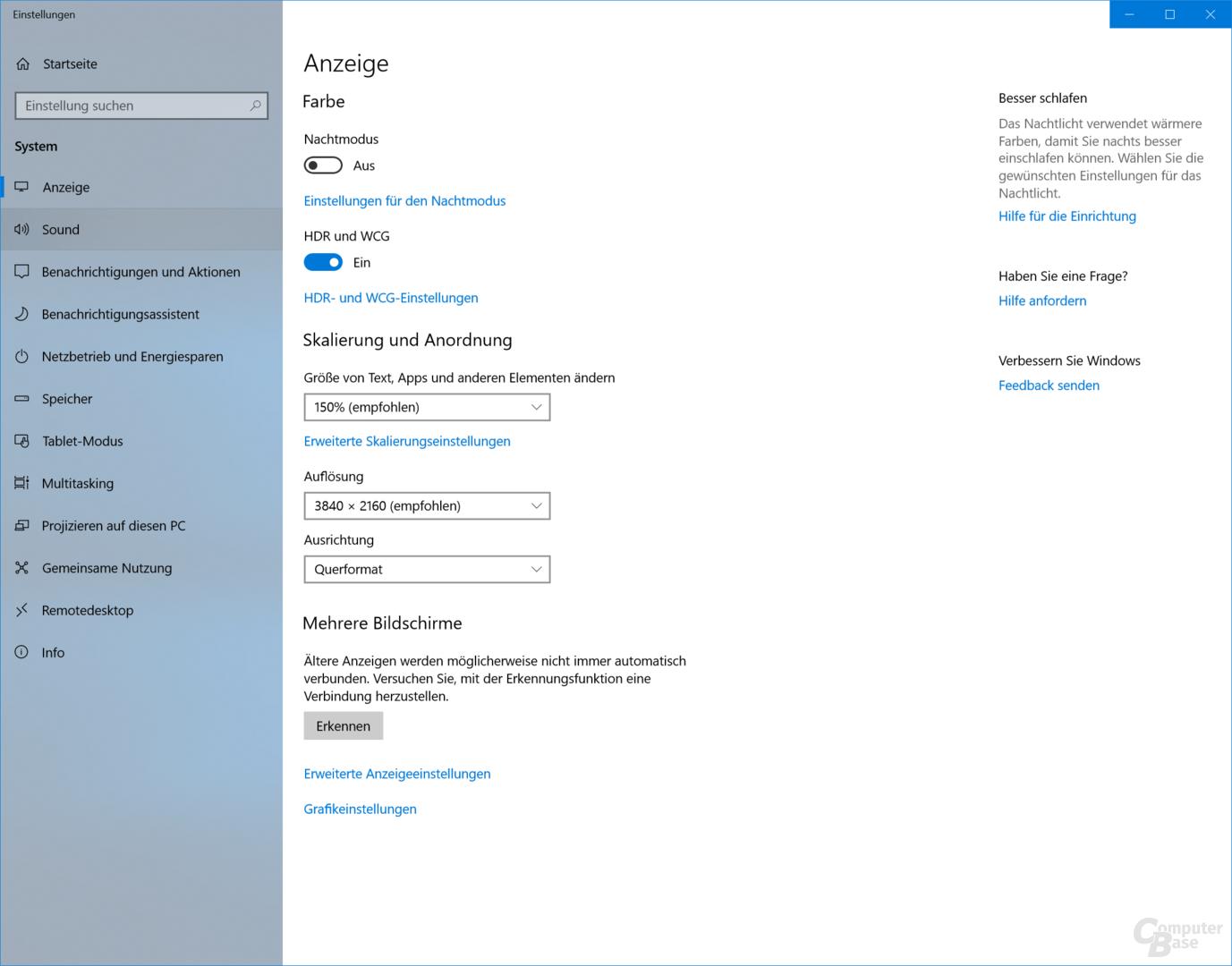 Windows 10 im HDR-Modus