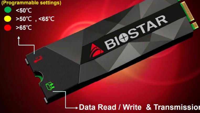 Biostar M500: M.2-PCIe-SSD mit LED-Temperaturanzeige im Kühler
