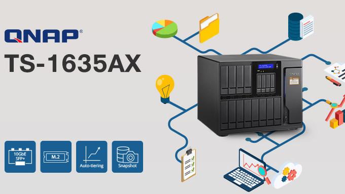 QNAP TS-1635AX: 16-Bay-NAS mit ARM-SoC, 10 GbE, PCIe und M.2