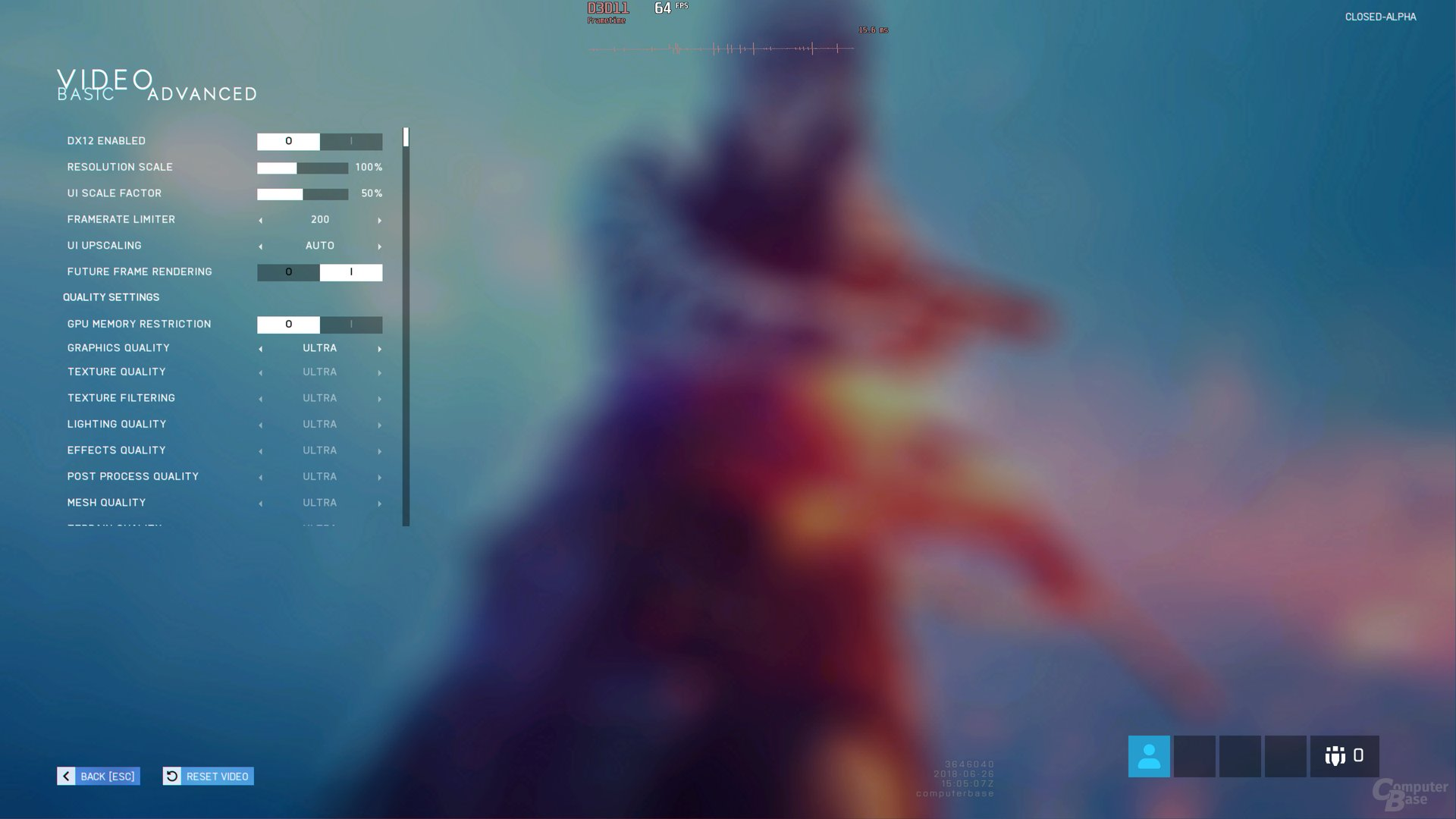 Das Grafik-Menü der Battlefield V Closed Alpha