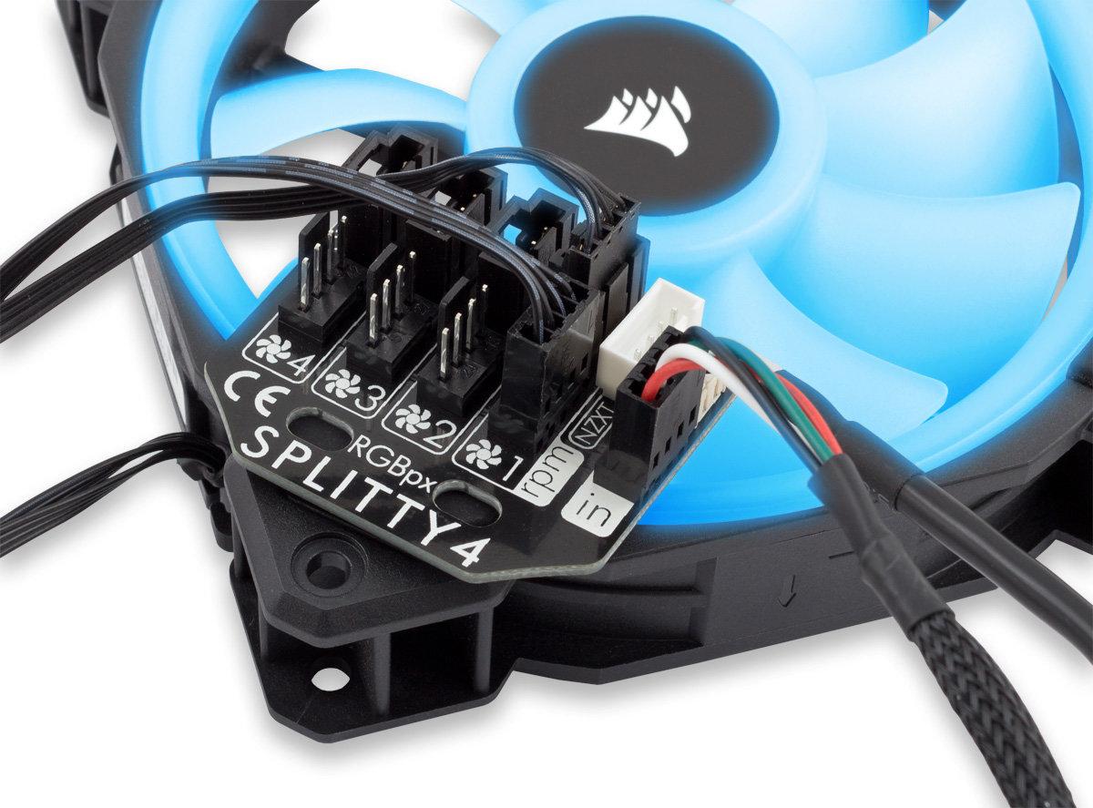 Aqua Computer RGBpx Splitty4: Lüftersplitter für Ventilatoren mit LED-Effekten