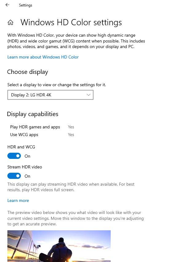Neue Windows HD Color Settings