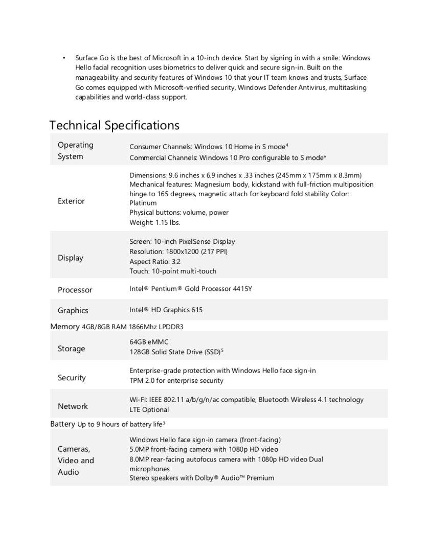 Technische Eckdaten des Surface Go