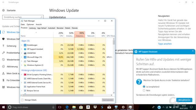 Beim Windows-Update ist die HDD über Stunden die Bremse