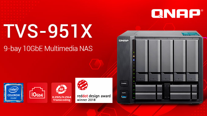 HDMI-1.4b-Ausgang: QNAP TVS-951X mit 10GbE und Intel-Kaby-Lake-CPU