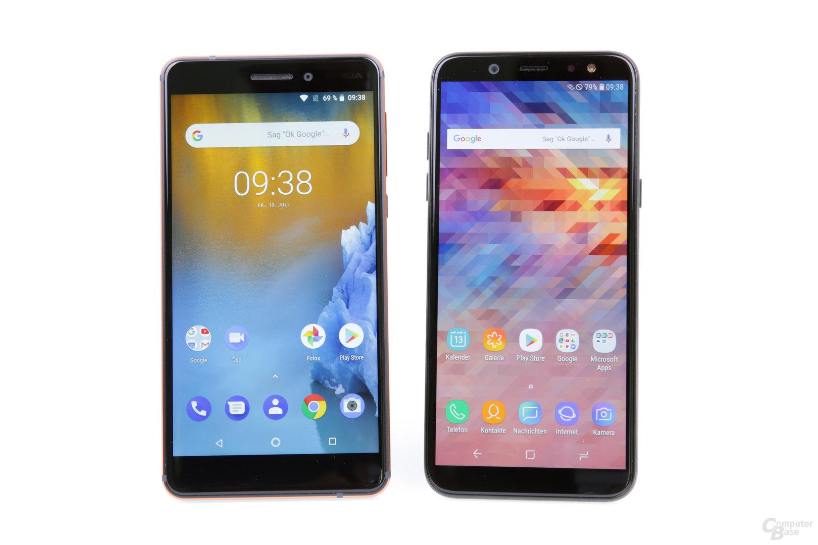 5,5 Zoll in 16:9 bei Nokia und 5,6 Zoll in 18,5:9 bei Samsung