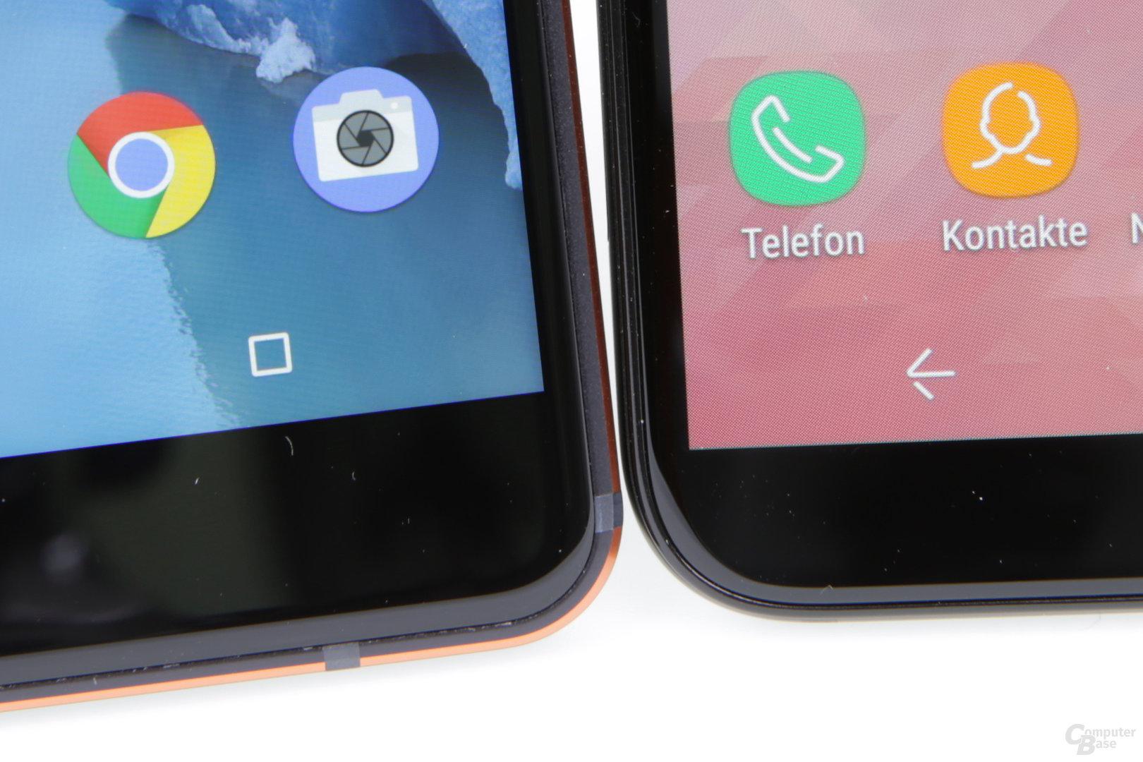 Schmale Ränder aber weniger Pixel bei Samsung