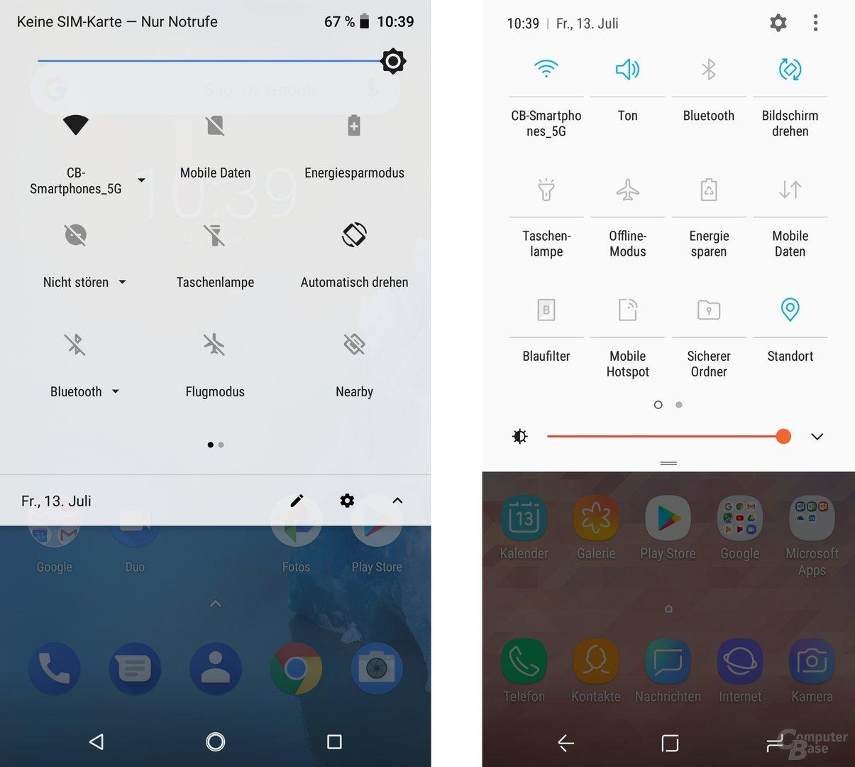 Stock-Android 8.1 vs. Samsung Experience 9.0
