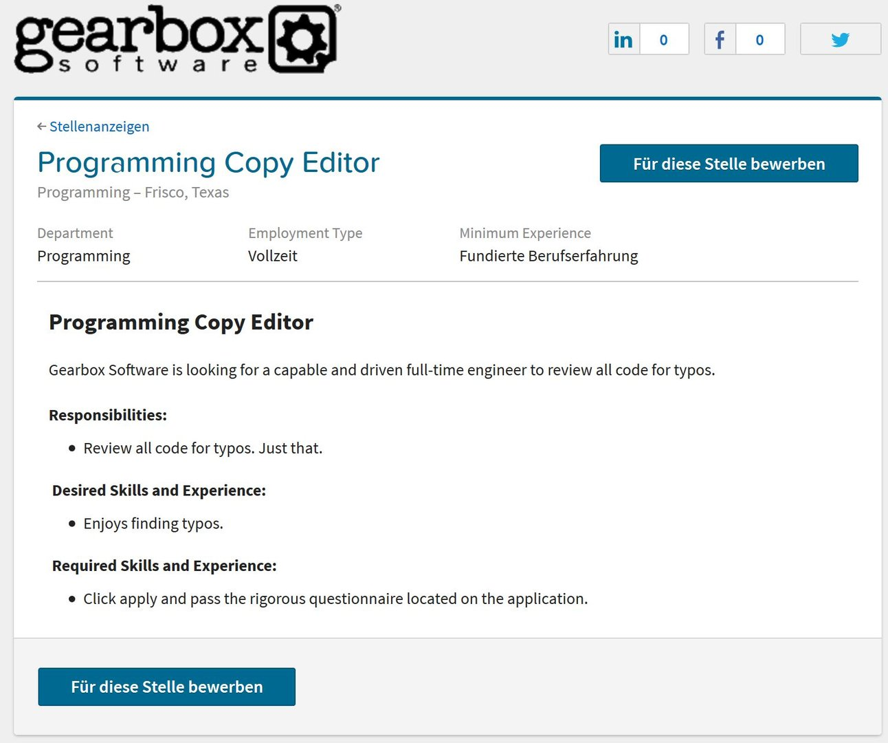 Stellenausschreibung von Gearbox