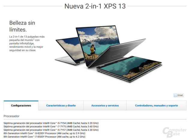 Neue Dell XPS 13 bekommen Amber Lake-Y