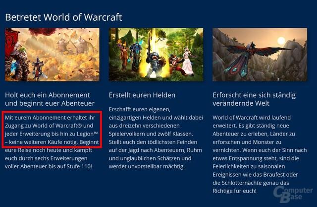 World of Warcraft muss nicht länger gekauft werden