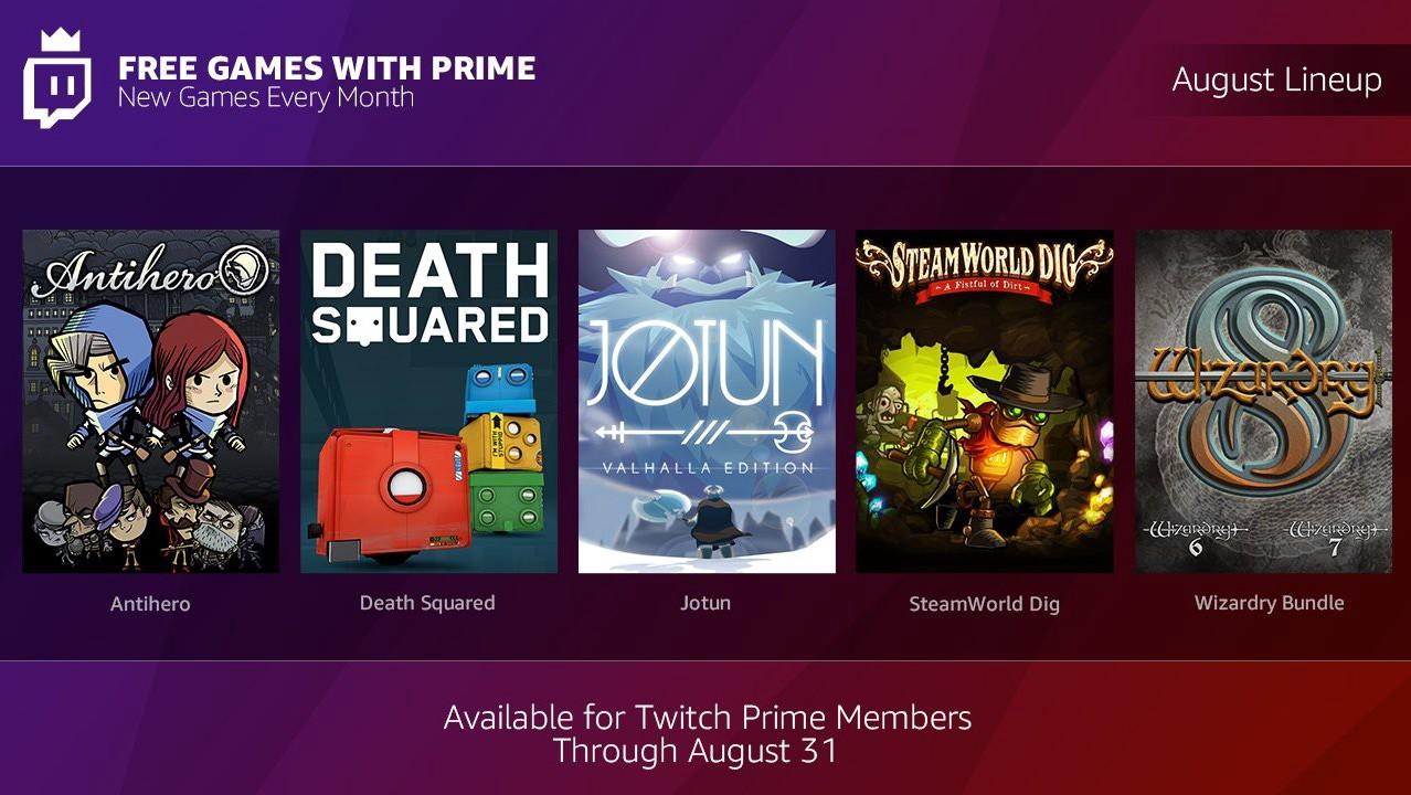Twitch Prime: Neue Spielekost im August-Bundle