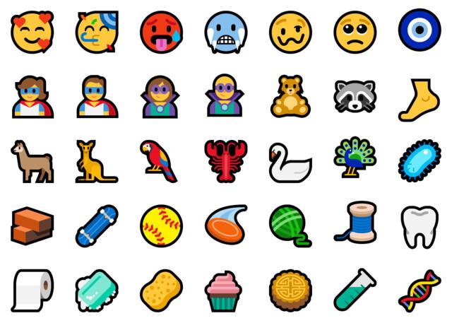 Beispiel für neue Emoji in Build 17723 und 18204