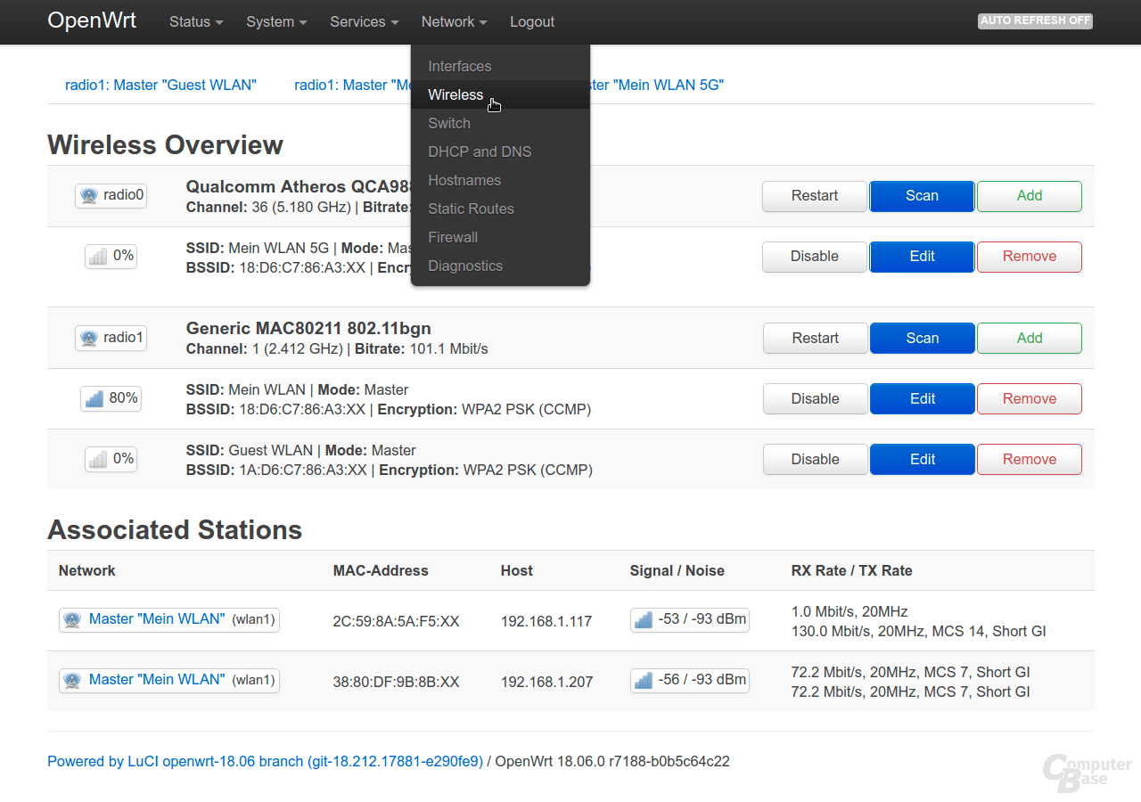 OpenWrt-Oberfläche LuCI – Network