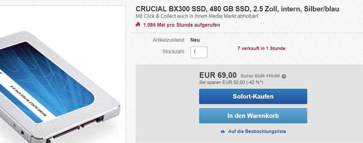 Das Angebot zur BX300 auf eBay