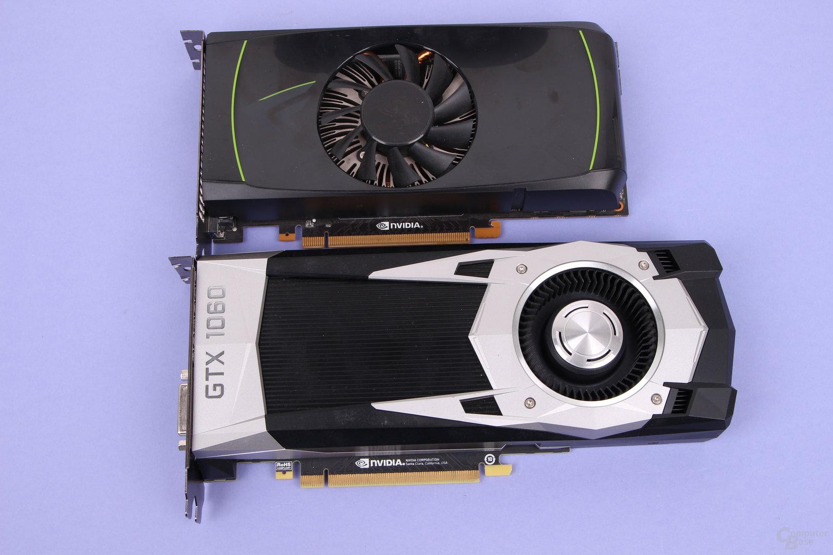 GeForce GTX 460 (oben, 2012) und die GeForce GTX 1060 (unten, 2016)