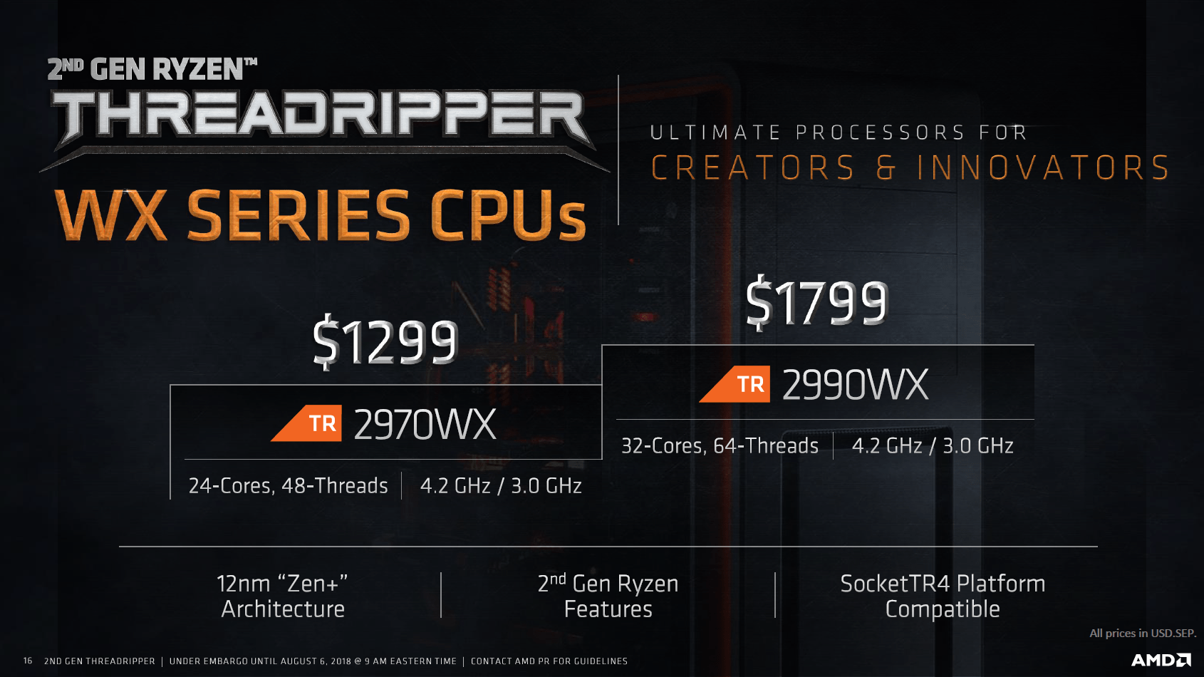Ryzen Threadripper 2000 in der WX-Serie