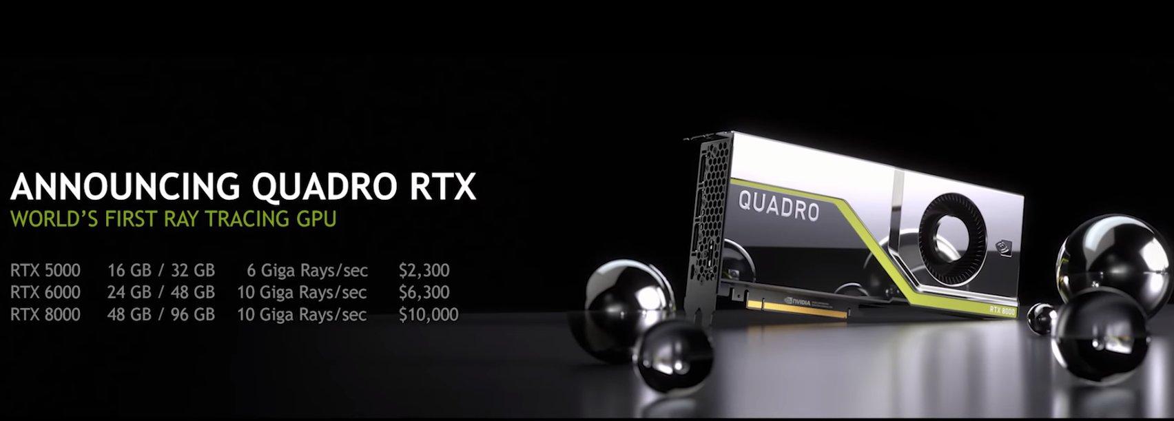 Preise der Nvidia Quadro RTX 5000/6000/8000