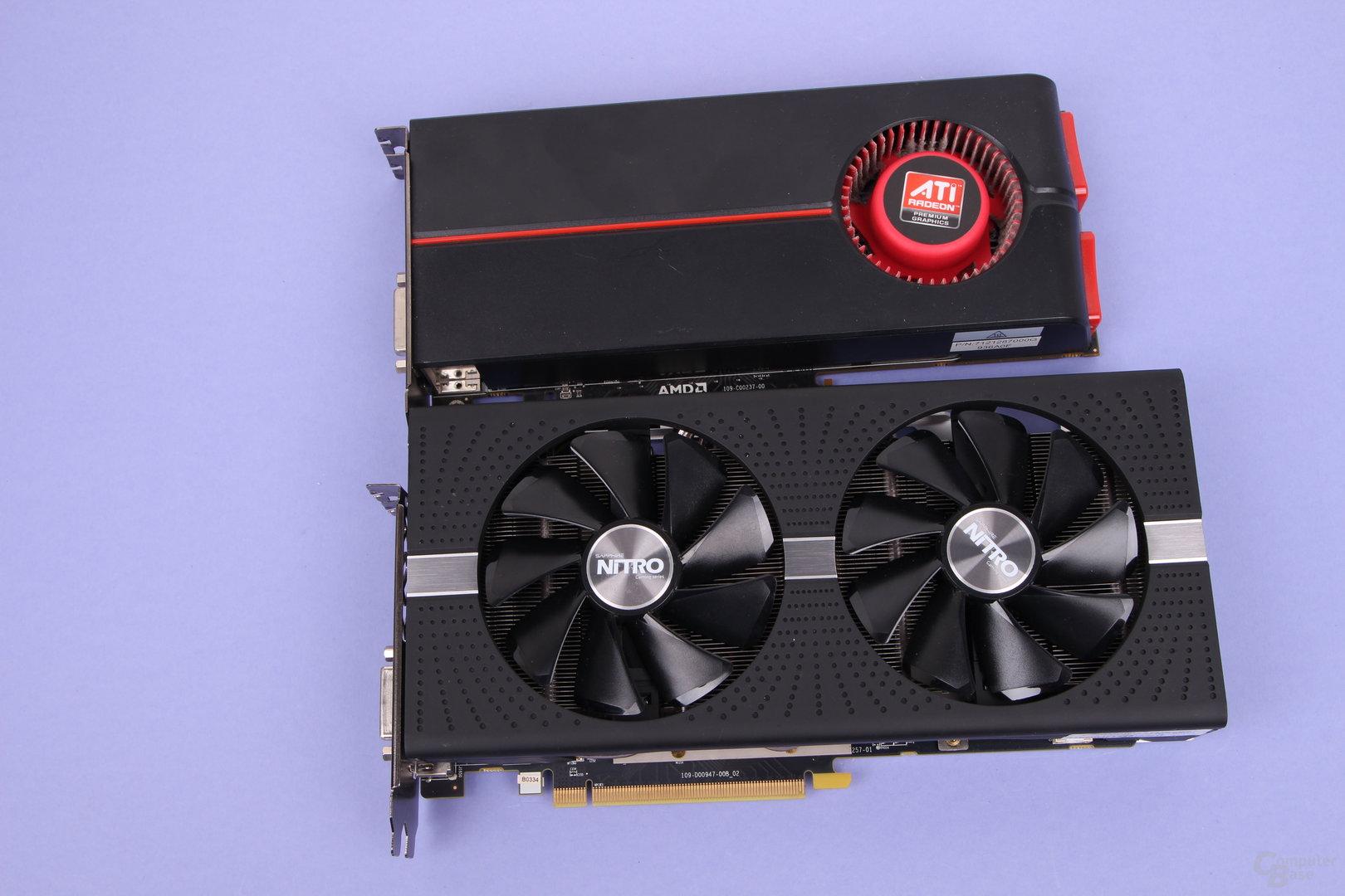 Radeon HD 5770 (oben, 2011) und Radeon RX 580 (unten, 2017)