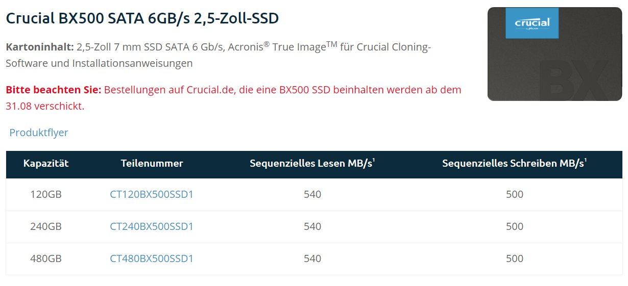 Crucial BX500 soll ab Ende August ausgeliefert werden