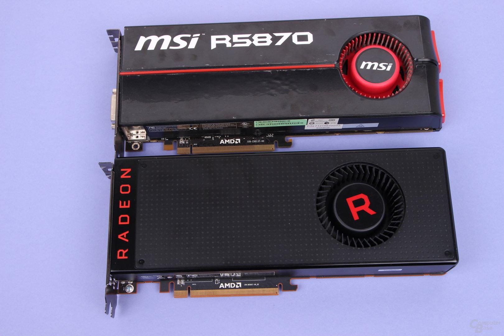 Radeon HD 5870 (oben, 2009) und Radeon RX Vega 64 (unten, 2017)