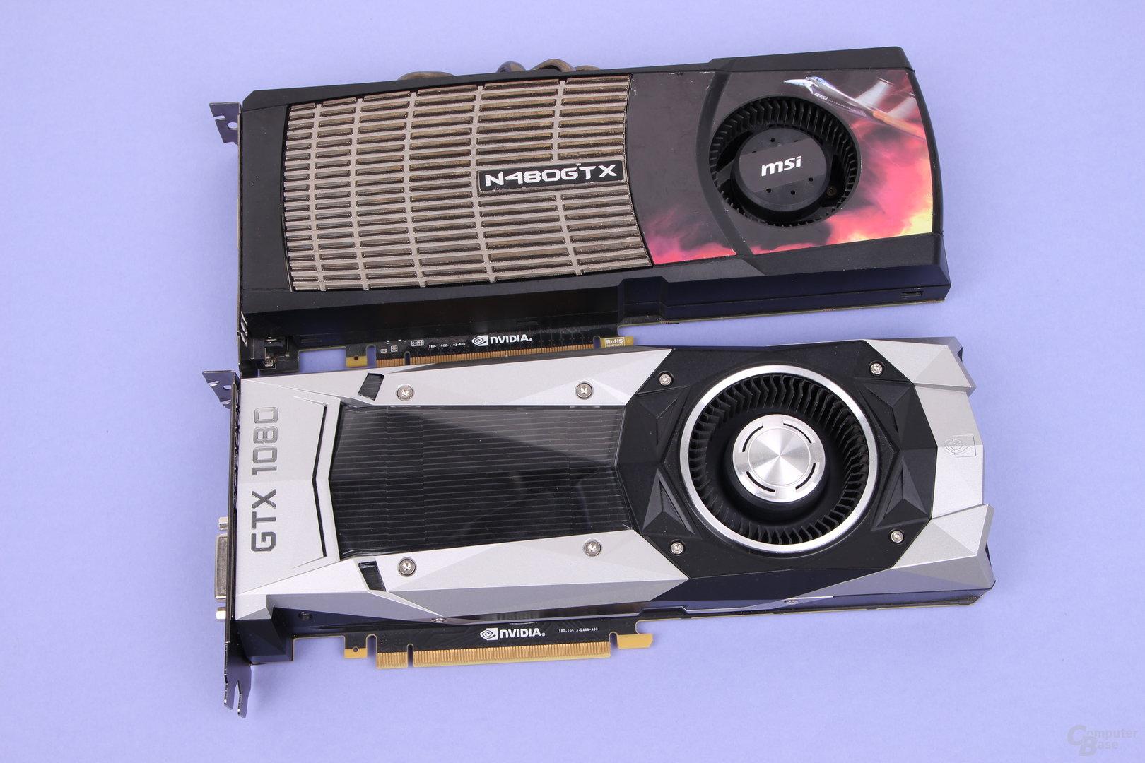 GeForce GTX 480 (2010, oben) und GeForce GTX 1080 (2016, unten)