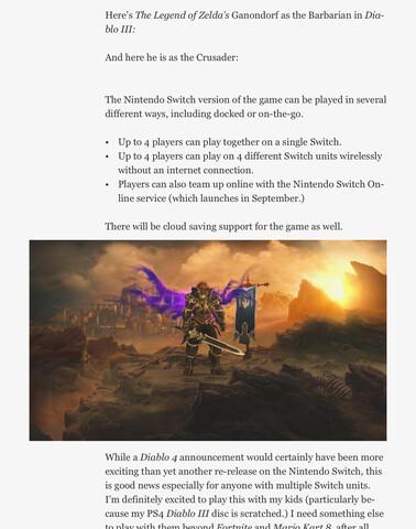 Screenshot des Forbes-Artikels zeigt Rüstungs-Bonus für Diablo 3 auf der Switch