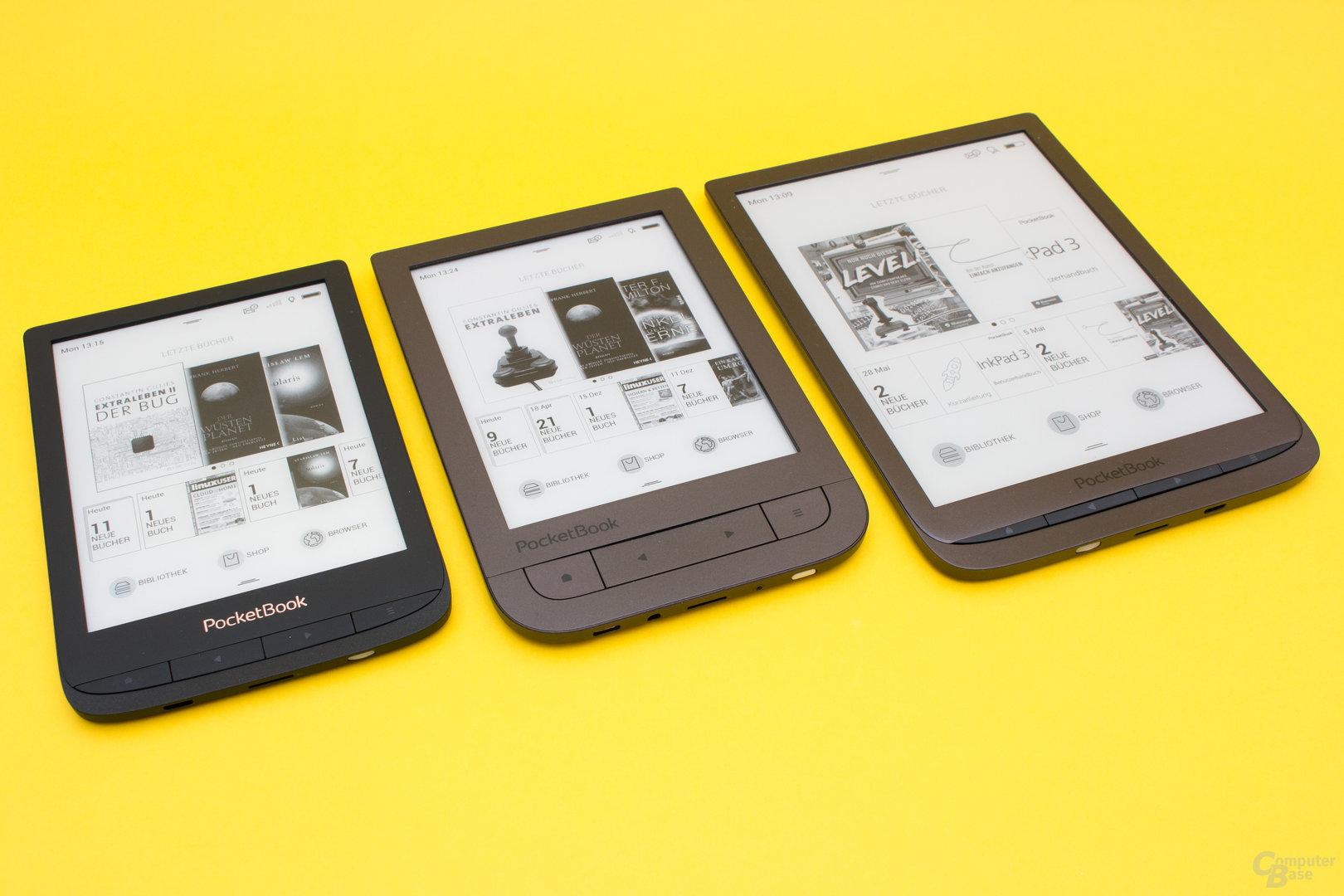 PocketBook Touch Lux 4, Touch HD2 und InkPad 3 im Größenvergleich