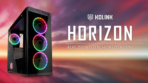 Kolink Horizon: Vier Lüfter-Leuchtquellen statt breitem Kühler