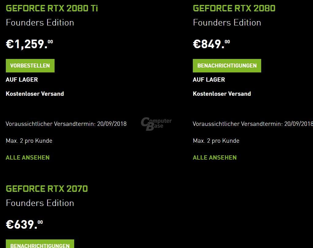 Preise der GeForce RTX bei Nvidia