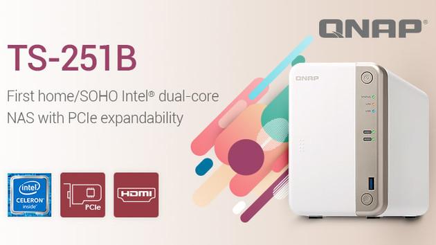 QNAP TS-251B: Erstes Home-NAS mit PCIe-Steckplatz und Intel‑Core‑CPU