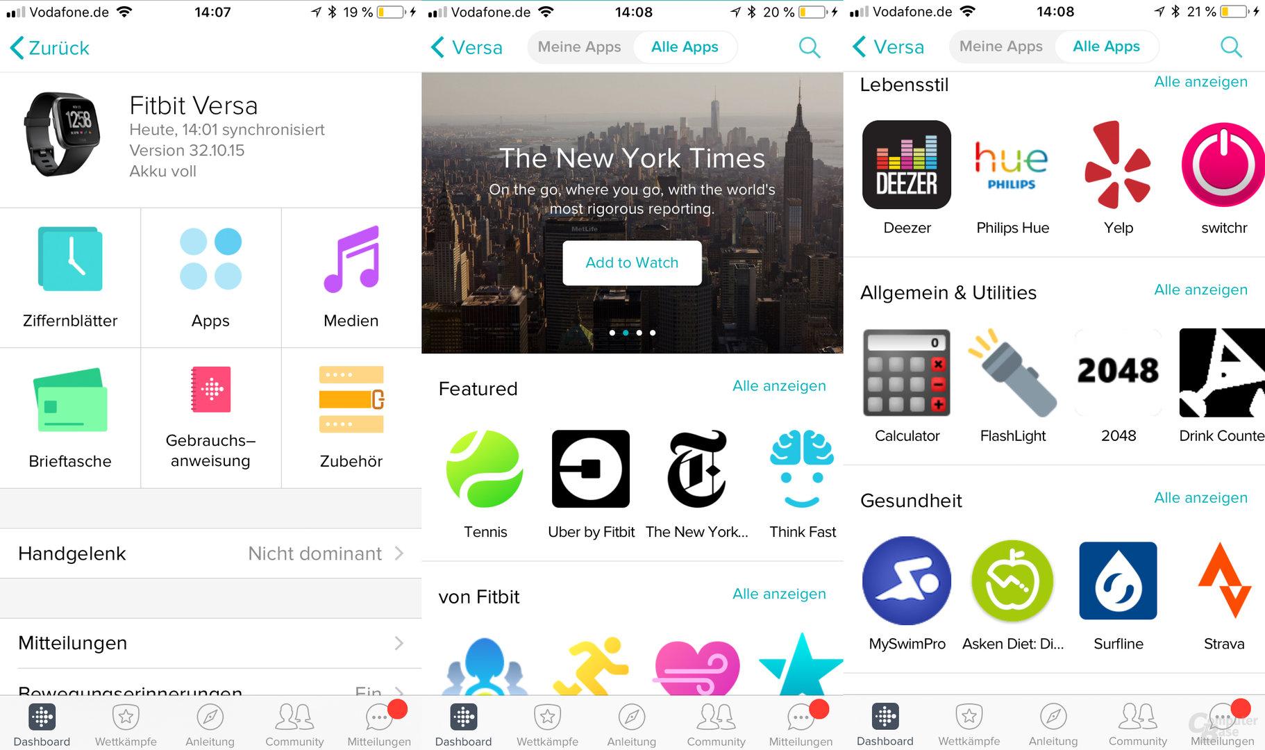 Fitbit Versa: Uhrenmenü und App-Store