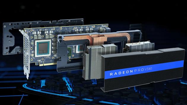 AMD Radeon Pro V340: Eine Grafikkarte mit zwei Vega-GPUs für 32Anwender