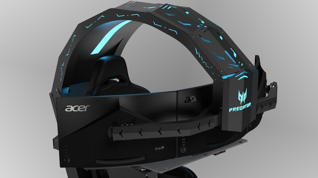Acer Predator Thronos: Kanzel für Game-Piloten trägt Spieler, PC und 3 Monitore
