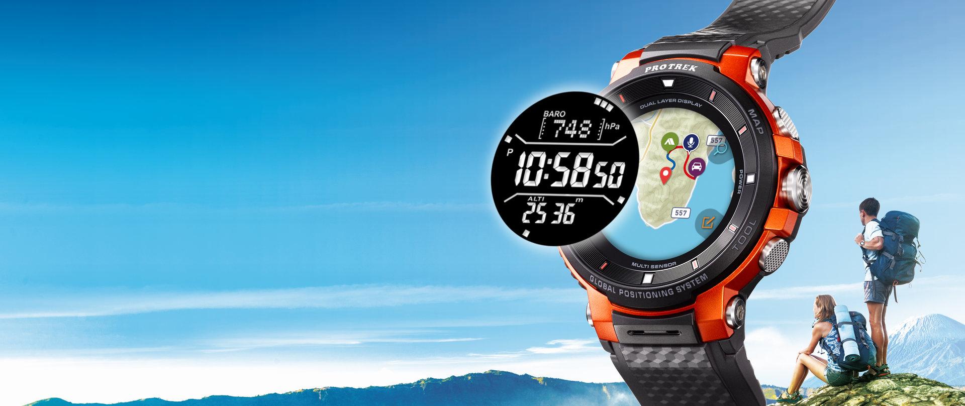 Casio Pro Trek Smart WSD-F30: Monochromes Display mit Kompass