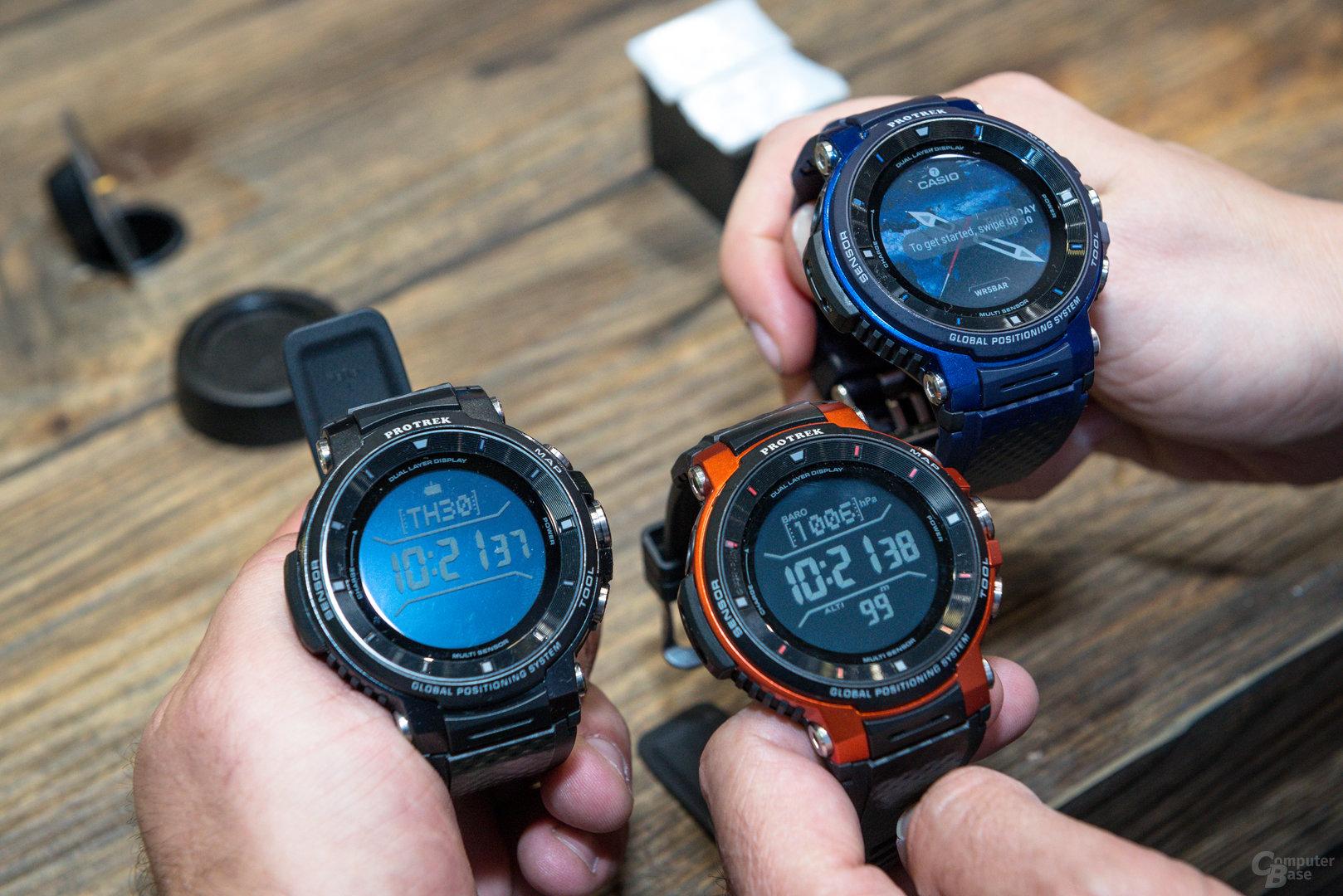 Casio Pro Trek Smart WSD-F30: Die drei Farbvarianten