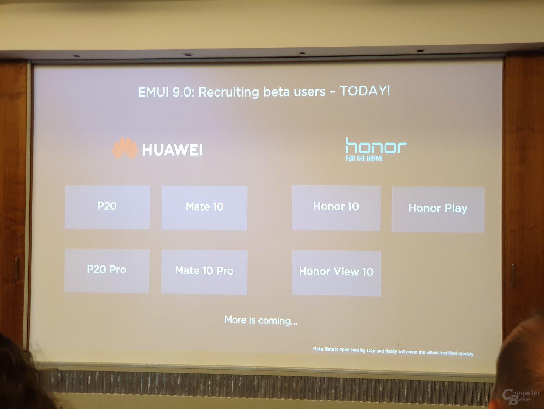Betaphase von EMUI 9.0 beginnt in Kürze