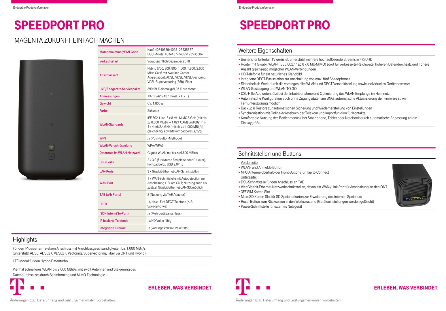 Datenblatt des Speedport Pro (1/2)