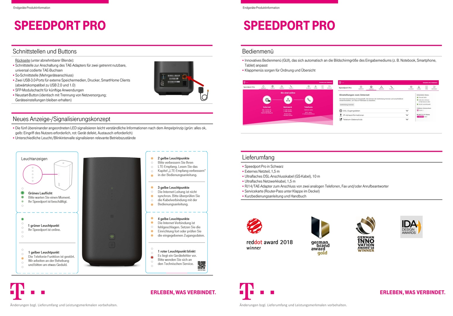 Datenblatt des Speedport Pro (2/2)